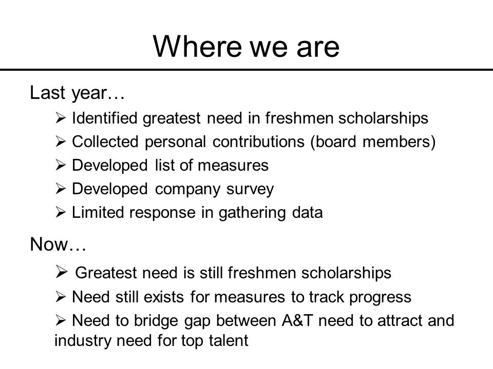 Where we are Last year… Identified greatest need in freshmen scholarships Collected personal contributions (board members) Developed list of measures