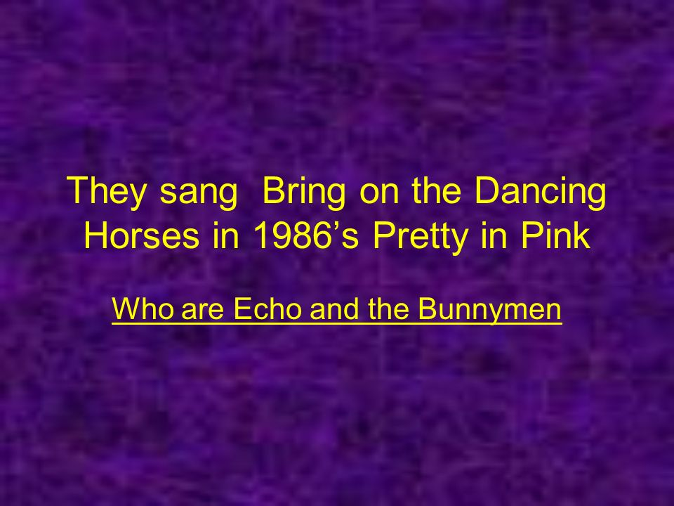 They sang Bring on the Dancing Horses in 1986s Pretty in Pink Who are Echo and the Bunnymen