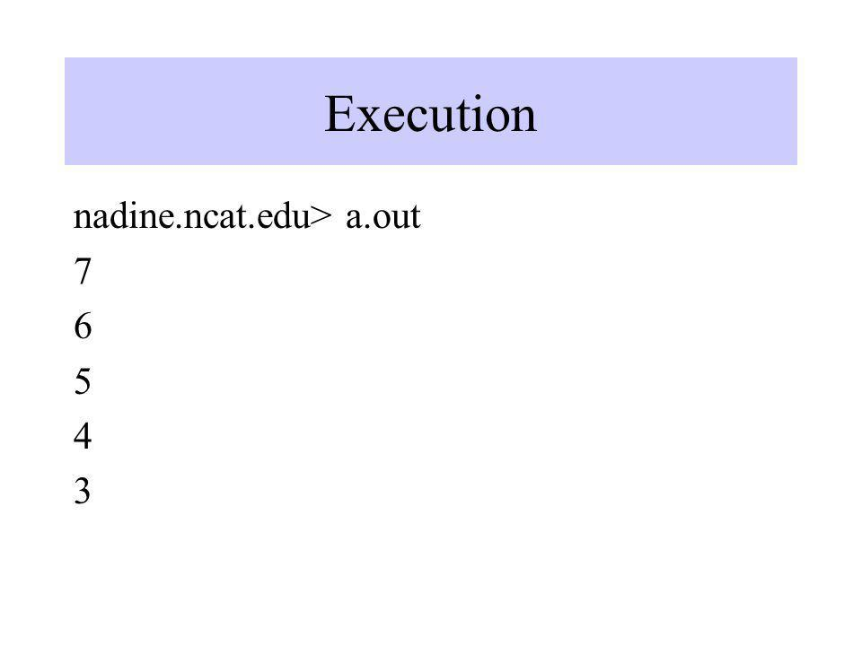 Execution nadine.ncat.edu> a.out 7 6 5 4 3