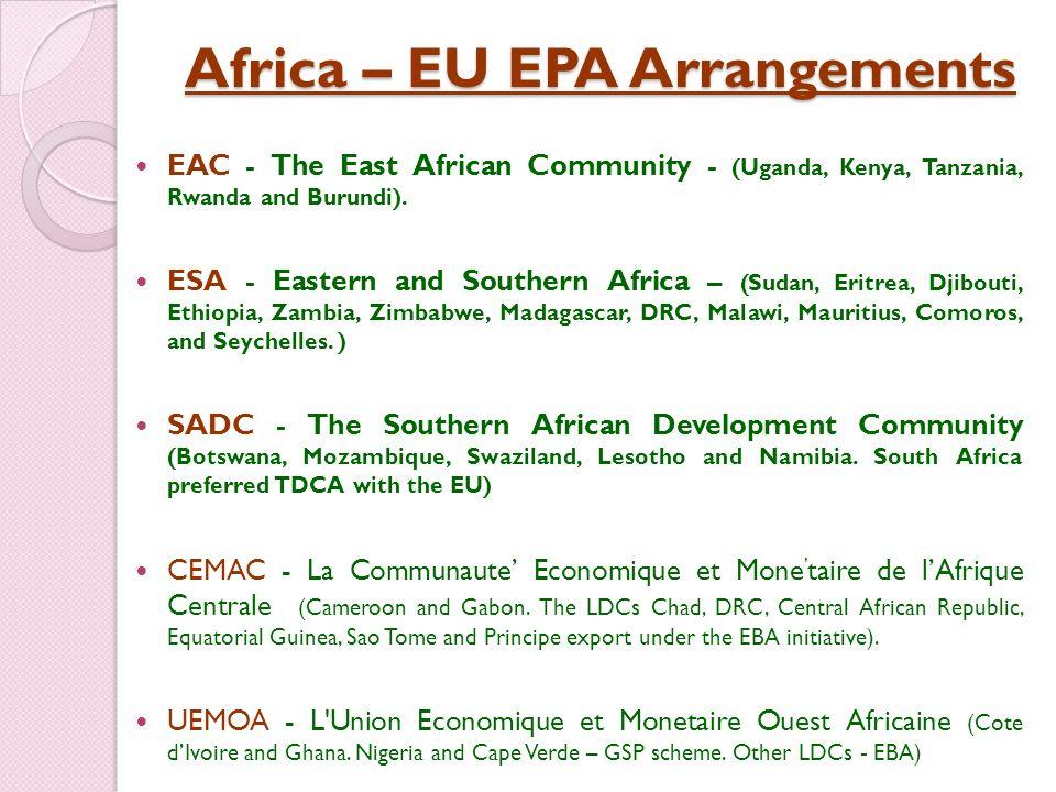 Africa – EU EPA Arrangements EAC - The East African Community - (Uganda, Kenya, Tanzania, Rwanda and Burundi). ESA - Eastern and Southern Africa – (Su