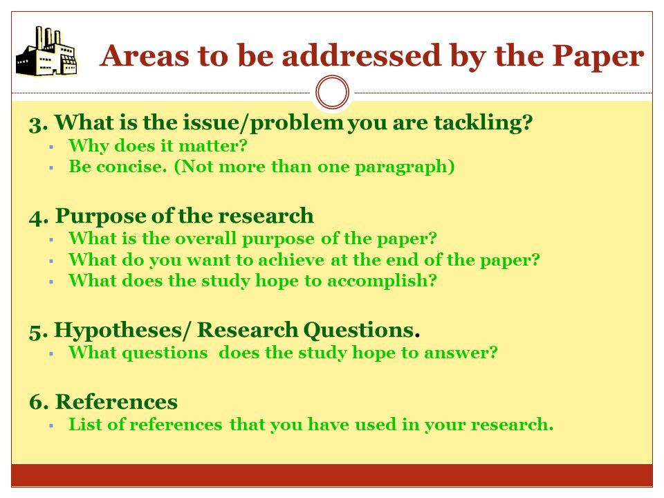Areas to be addressed by the Paper The outline reflects your careful planning of the paper and shows the relevance of the study you are going to take.