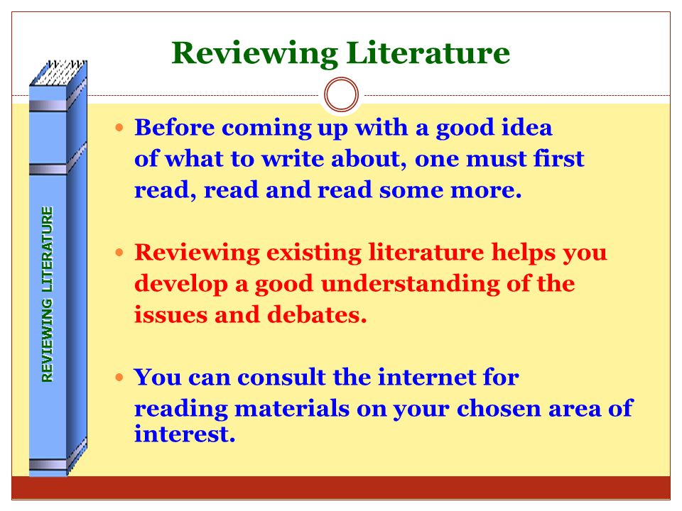 CONTENTS 1. Selecting your topic 2. Reviewing existing Literature 3. Areas to be addressed by the Paper 4. Writing tips 5. Footnoting and referencing