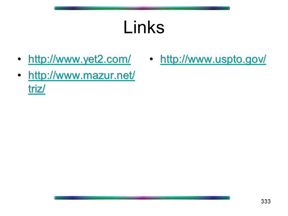 333 Links http://www.yet2.com/http://www.yet2.com/http://www.yet2.com/ http://www.mazur.net/ triz/http://www.mazur.net/ triz/http://www.mazur.net/ tri