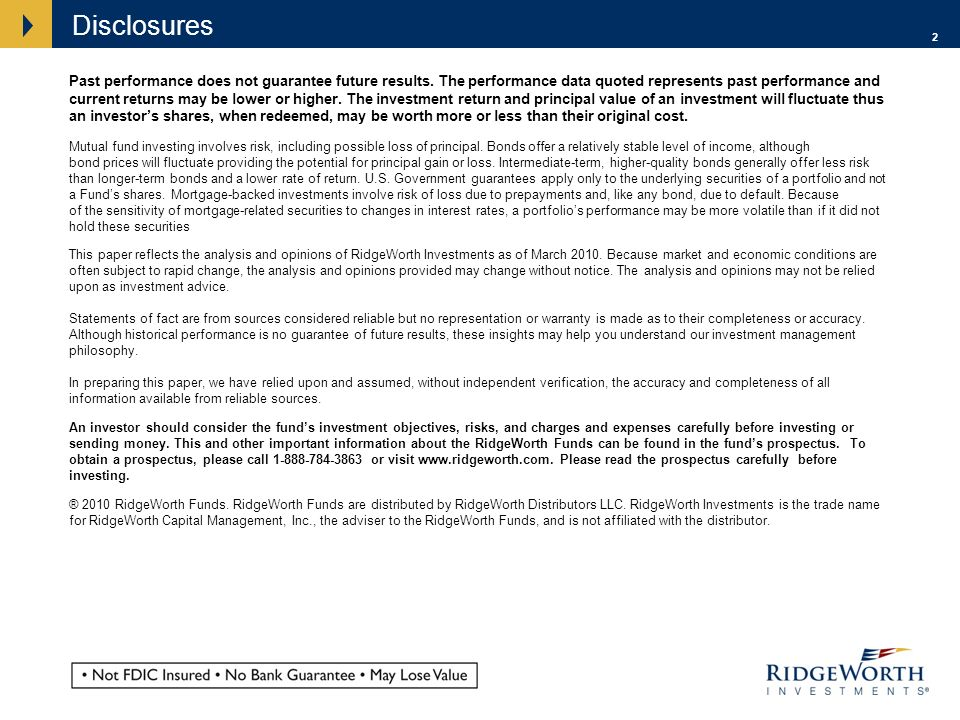 2 Disclosures Past performance does not guarantee future results.