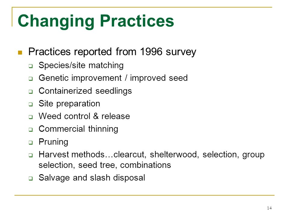 14 Changing Practices Practices reported from 1996 survey Species/site matching Genetic improvement / improved seed Containerized seedlings Site prepa