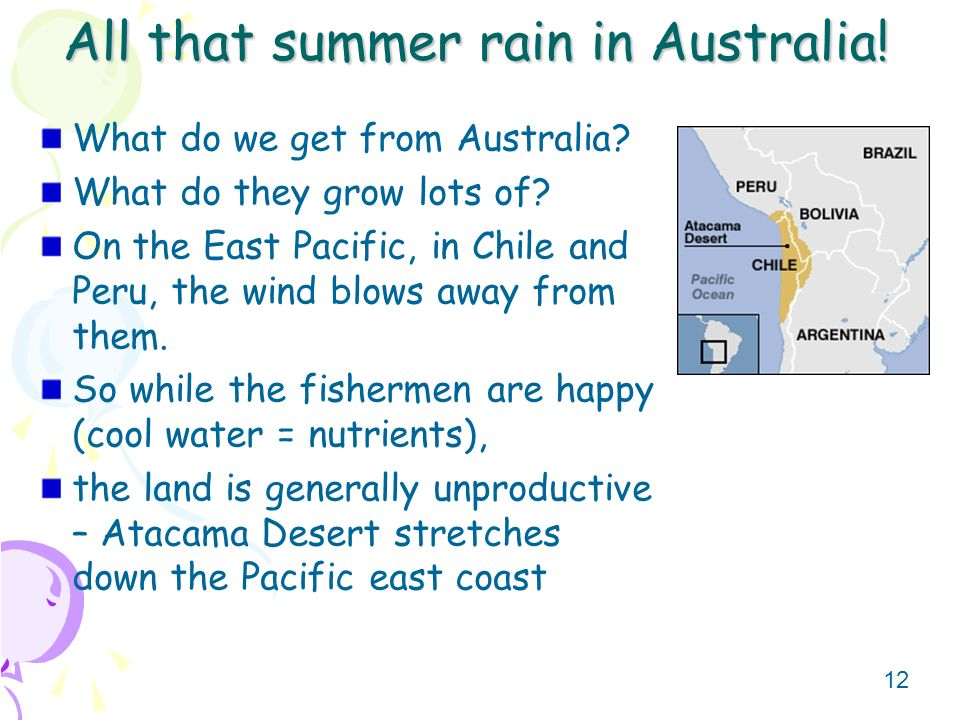 12 All that summer rain in Australia! What do we get from Australia? What do they grow lots of? On the East Pacific, in Chile and Peru, the wind blows