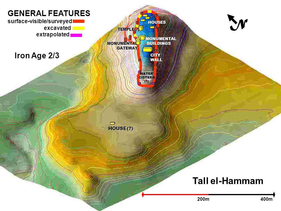 Tall el-Hammam N 200m400m GENERAL FEATURES surface-visible/surveyed excavated extrapolated Iron Age 2/3 WATER CISTERN ( ) HOUSES HOUSE( ) TEMPLE( ) MONUMENTAL BUILDINGS BUILDINGS MONUMENTALGATEWAY CITYWALL