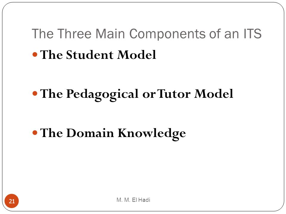The Three Main Components of an ITS M. M. El Hadi 21 The Student Model The Pedagogical or Tutor Model The Domain Knowledge