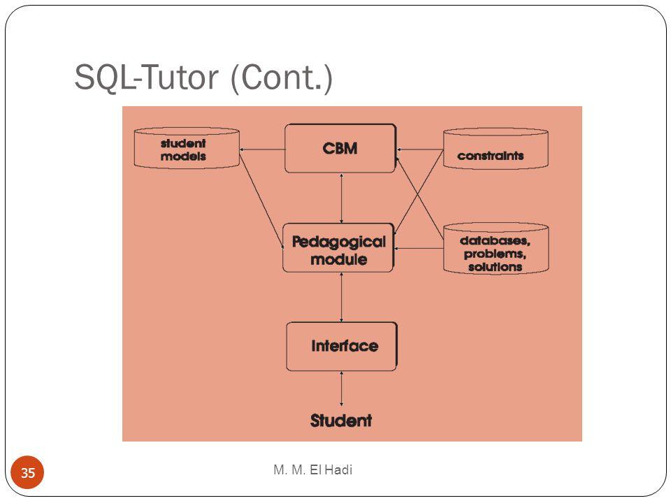 SQL-Tutor (Cont.) M. M. El Hadi 35
