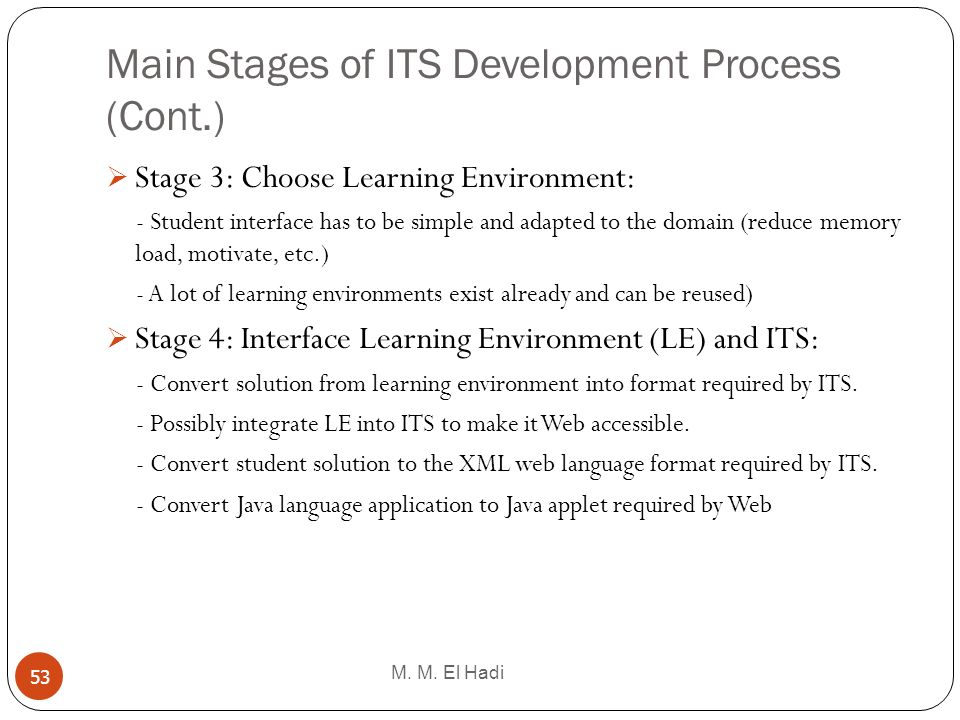 Main Stages of ITS Development Process (Cont.) M. M. El Hadi 53 Stage 3: Choose Learning Environment: - Student interface has to be simple and adapted