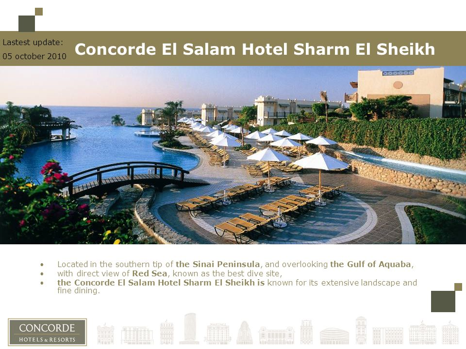 Located in the southern tip of the Sinai Peninsula, and overlooking the Gulf of Aquaba, with direct view of Red Sea, known as the best dive site, the Concorde El Salam Hotel Sharm El Sheikh is known for its extensive landscape and fine dining.