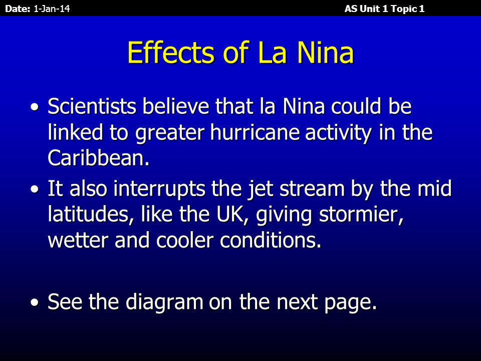 Date: 1-Jan-14 AS Unit 1 Topic 1 One of the strongest La Niñas blankets the Pacific Ocean near the equator, This La Niña is indicated by the blue area