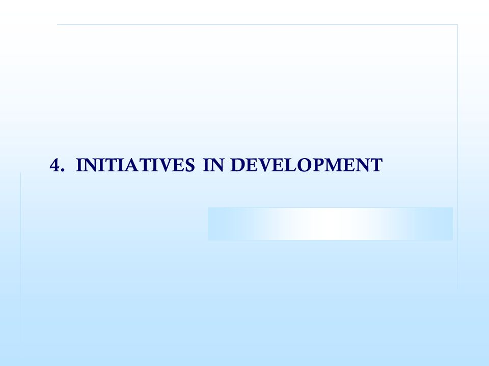 4. INITIATIVES IN DEVELOPMENT