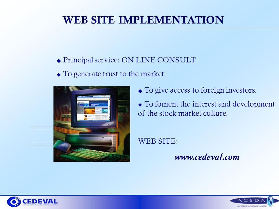 WEB SITE IMPLEMENTATION u u Principal service: ON LINE CONSULT.