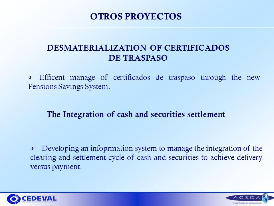 OTROS PROYECTOS DESMATERIALIZATION OF CERTIFICADOS DE TRASPASO F Efficent manage of certificados de traspaso through the new Pensions Savings System.
