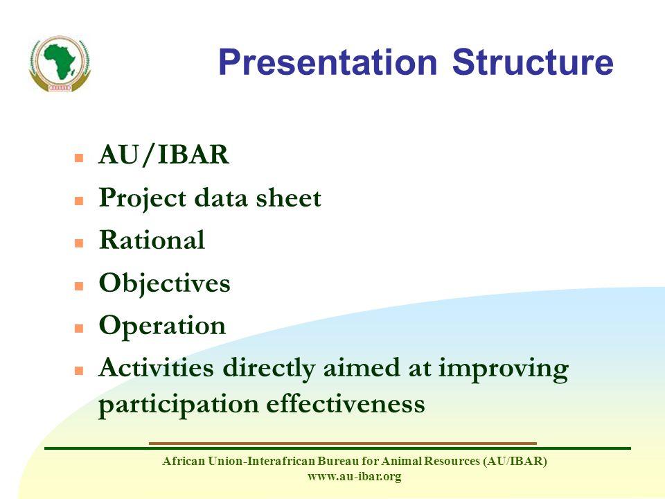 African Union-Interafrican Bureau for Animal Resources (AU/IBAR) www.au-ibar.org Presentation Structure n AU/IBAR n Project data sheet n Rational n Ob