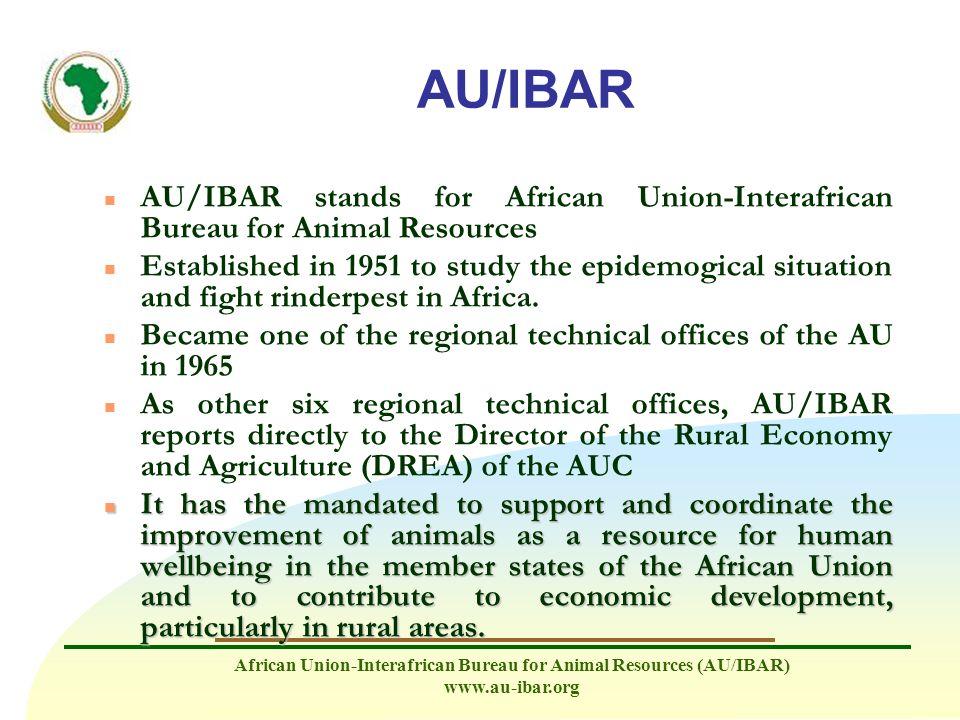 African Union-Interafrican Bureau for Animal Resources (AU/IBAR) www.au-ibar.org AU/IBAR n AU/IBAR stands for African Union-Interafrican Bureau for An