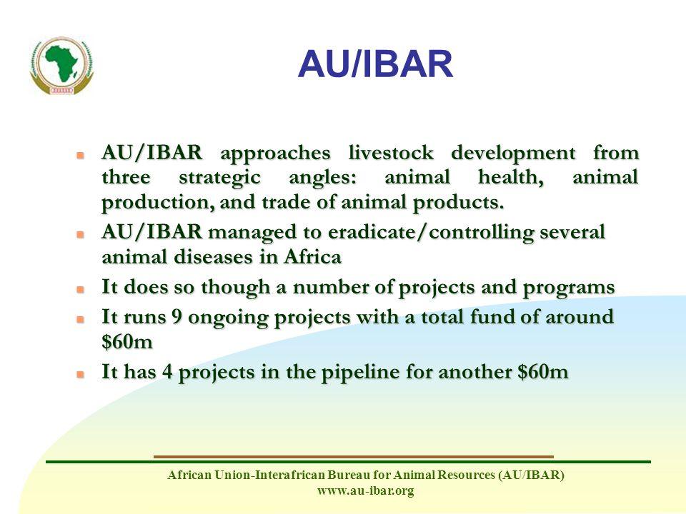 African Union-Interafrican Bureau for Animal Resources (AU/IBAR) www.au-ibar.org AU/IBAR n AU/IBAR approaches livestock development from three strateg