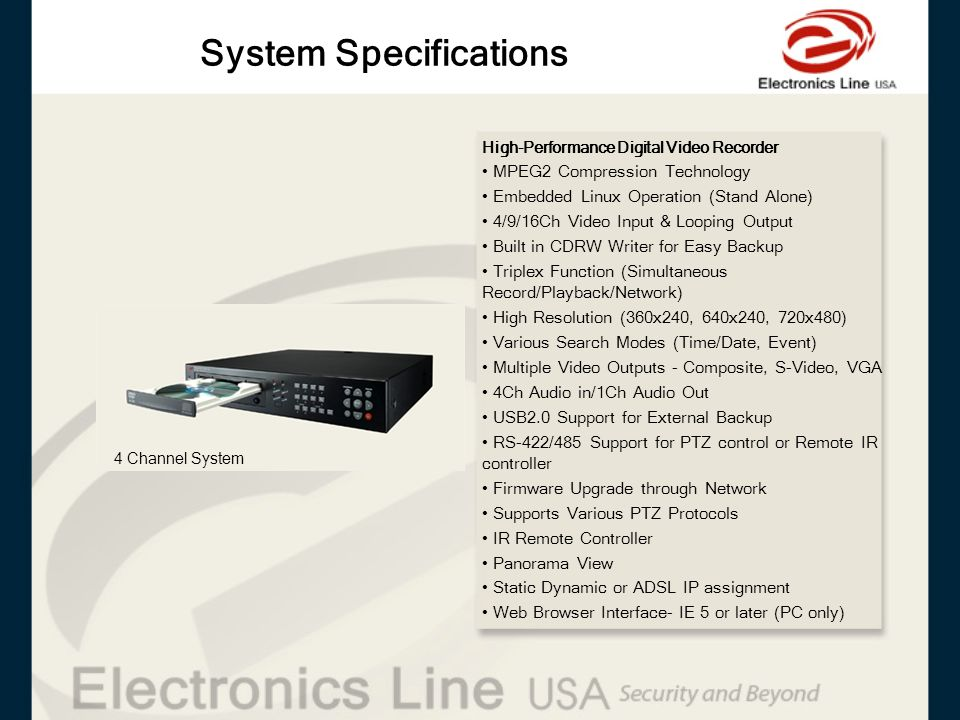 System Specifications High-Performance Digital Video Recorder MPEG2 Compression Technology Embedded Linux Operation (Stand Alone) 4/9/16Ch Video Input