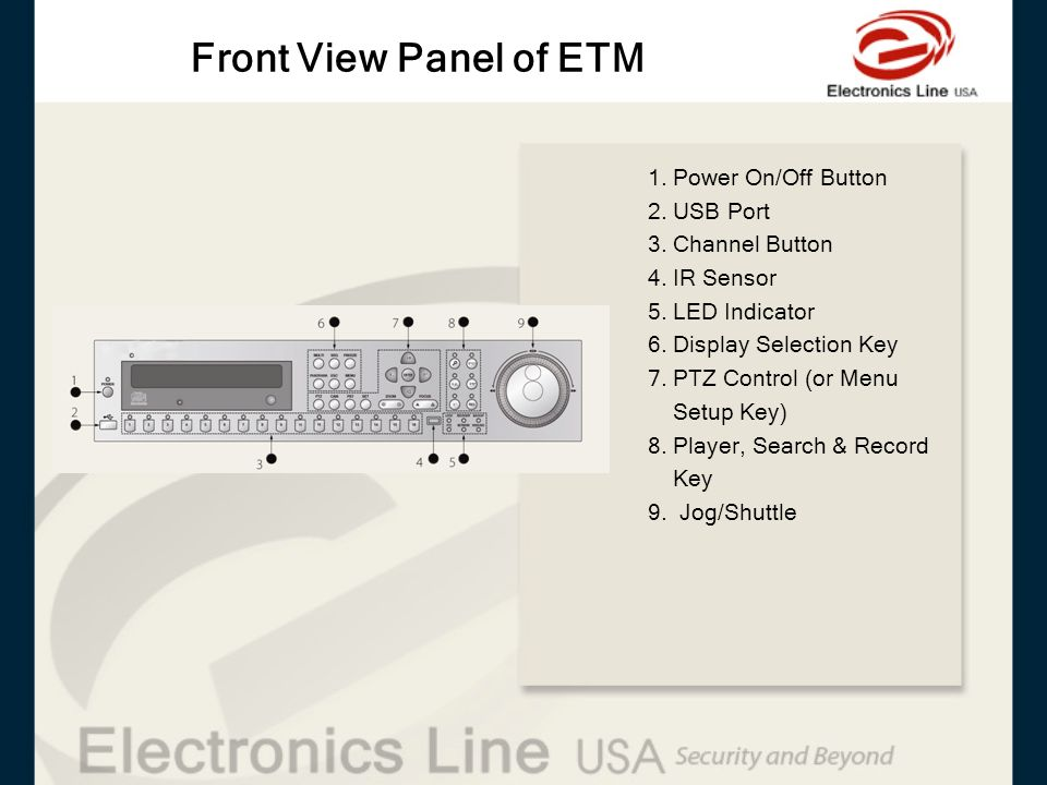 Front View Panel of ETM 1. Power On/Off Button 2. USB Port 3. Channel Button 4. IR Sensor 5. LED Indicator 6. Display Selection Key 7. PTZ Control (or