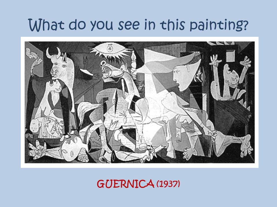 What do you see in this painting? GUERNICA (1937)