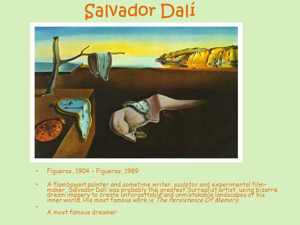 Figueras, 1904 – Figueras, 1989 A flamboyant painter and sometime writer, sculptor and experimental film- maker, Salvador Dali was probably the greate