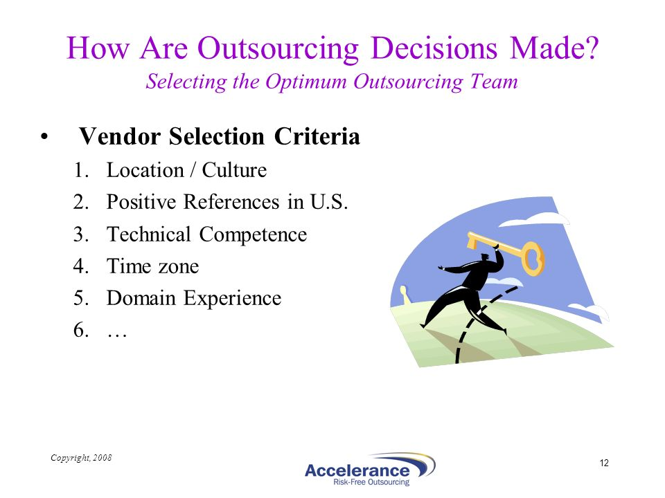 Copyright, 2008 12 How Are Outsourcing Decisions Made? Selecting the Optimum Outsourcing Team Vendor Selection Criteria 1.Location / Culture 2.Positiv