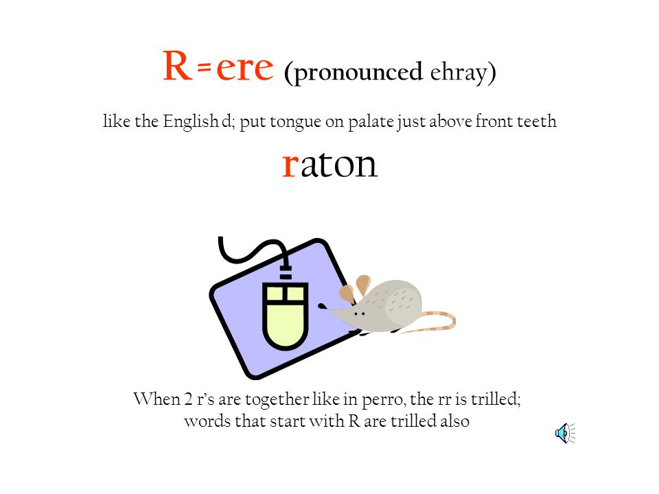 R=ere (pronounced ehray) like the English d; put tongue on palate just above front teeth r aton When 2 rs are together like in perro, the rr is trille