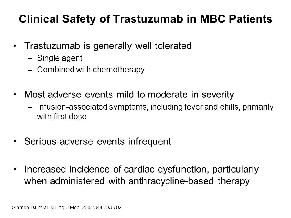 Clinical Safety of Trastuzumab in MBC Patients Trastuzumab is generally well tolerated –Single agent –Combined with chemotherapy Most adverse events mild to moderate in severity –Infusion-associated symptoms, including fever and chills, primarily with first dose Serious adverse events infrequent Increased incidence of cardiac dysfunction, particularly when administered with anthracycline-based therapy Slamon DJ, et al.