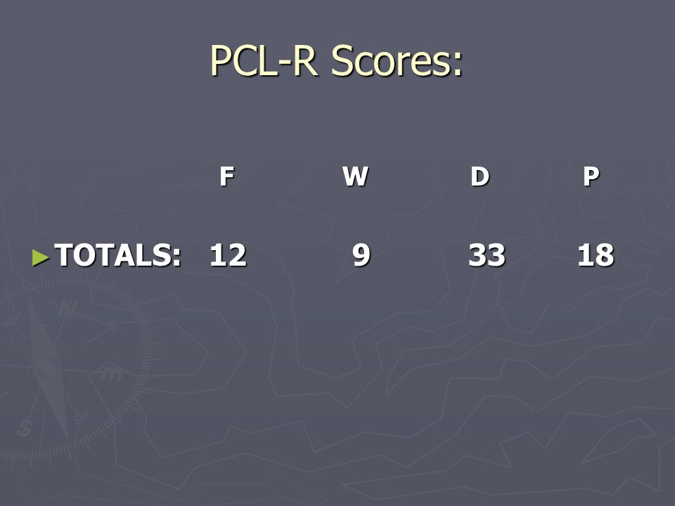 PCL-R Scores: F W D P F W D P TOTALS: 12 9 33 18 TOTALS: 12 9 33 18