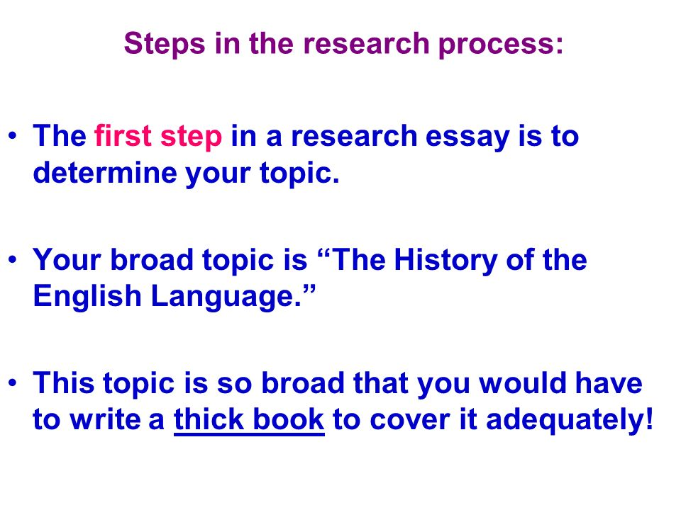 Steps in the research process: The second step is to narrow this topic to one aspect that can be addressed in a few PPT slides.