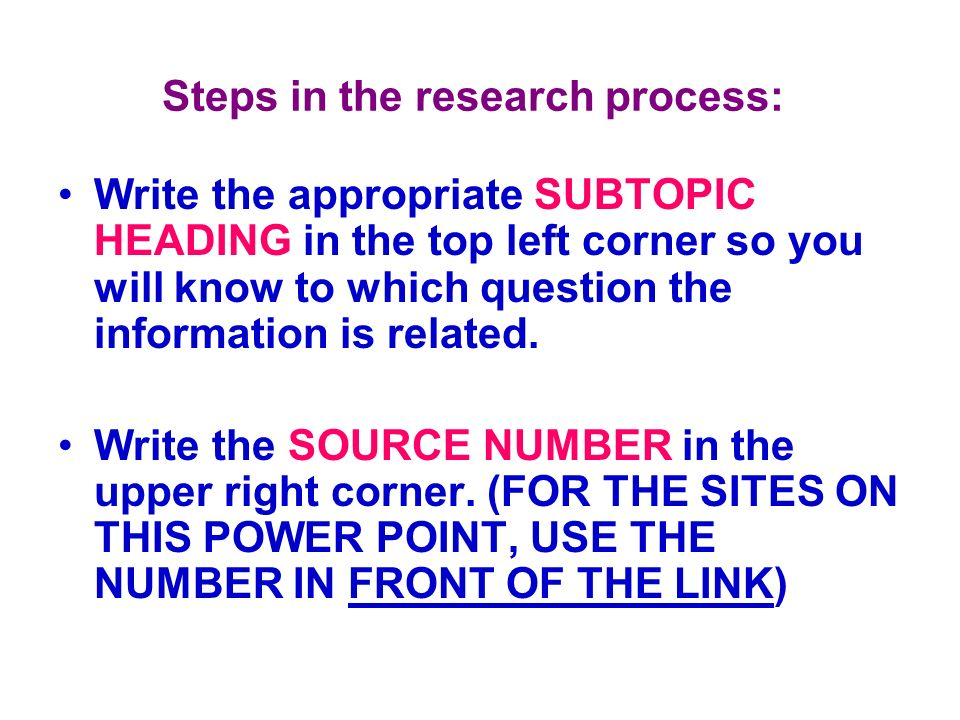 Steps in the research process: Write the appropriate SUBTOPIC HEADING in the top left corner so you will know to which question the information is rel
