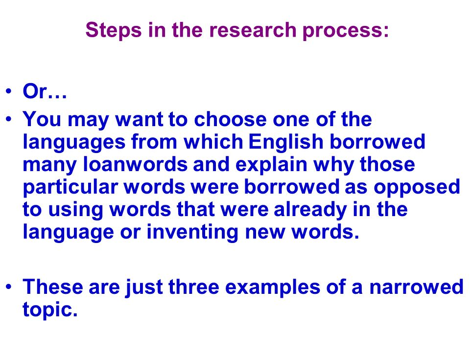 Steps in the research process: You will be given the site information in MLA format for each source at a later date.