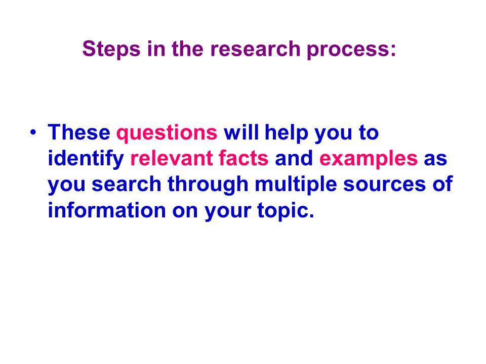 Steps in the research process: These questions will help you to identify relevant facts and examples as you search through multiple sources of informa