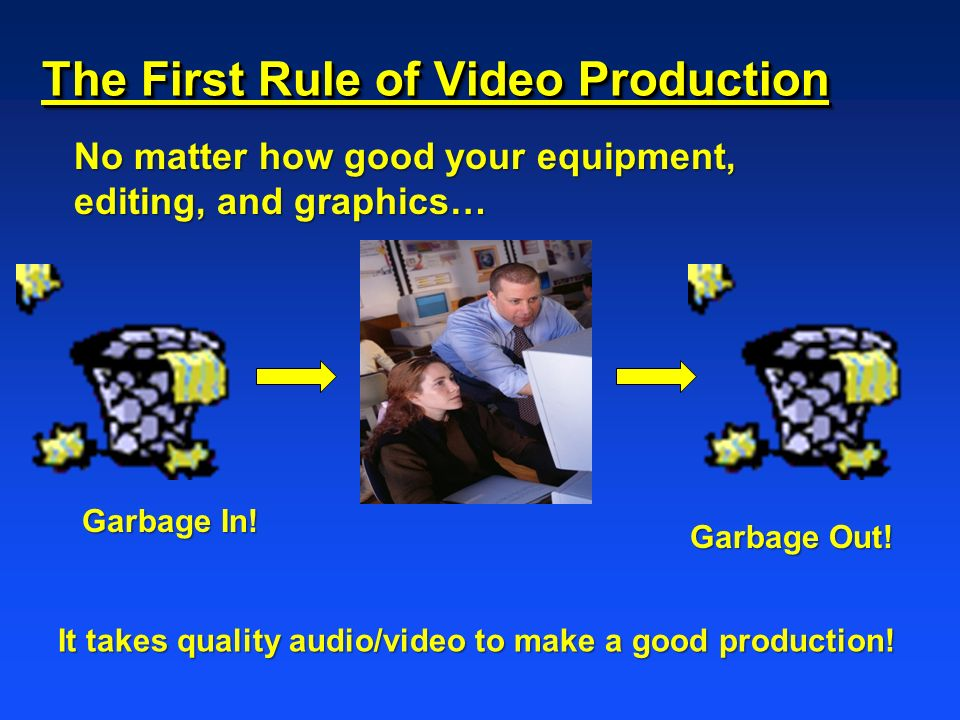 The First Rule of Video Production No matter how good your equipment, editing, and graphics… Garbage In! Garbage Out! It takes quality audio/video to
