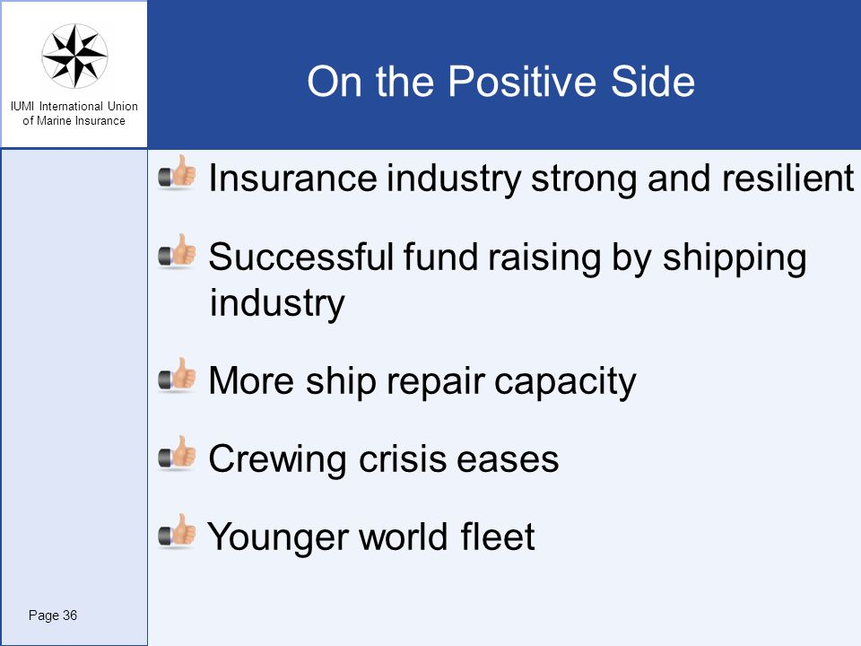 IUMI International Union of Marine Insurance On the Positive Side Insurance industry strong and resilient Successful fund raising by shipping industry