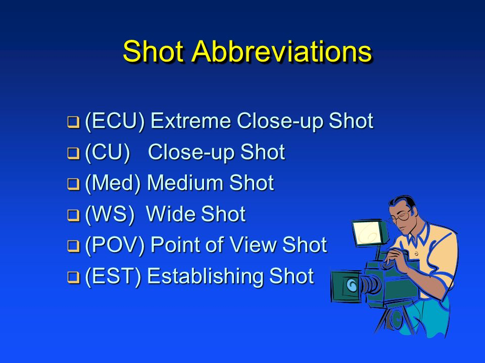 Shot Abbreviations (ECU) Extreme Close-up Shot (ECU) Extreme Close-up Shot (CU) Close-up Shot (CU) Close-up Shot (Med) Medium Shot (Med) Medium Shot (