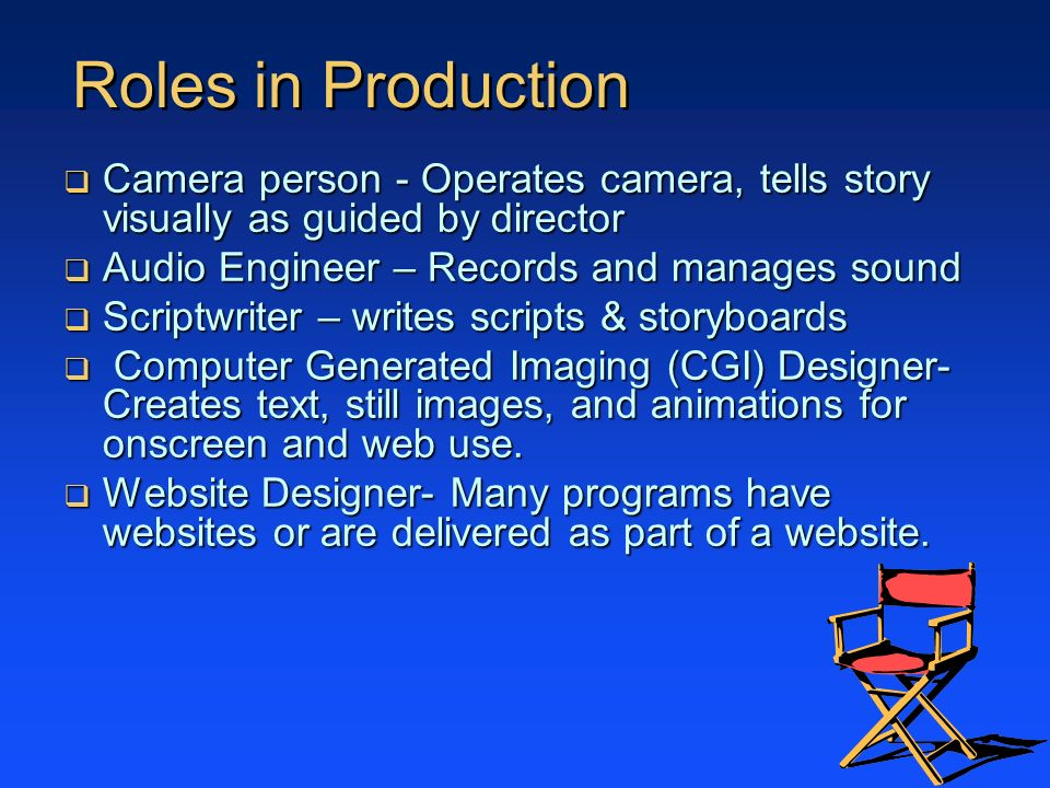 Roles in Production Camera person - Operates camera, tells story visually as guided by director Camera person - Operates camera, tells story visually