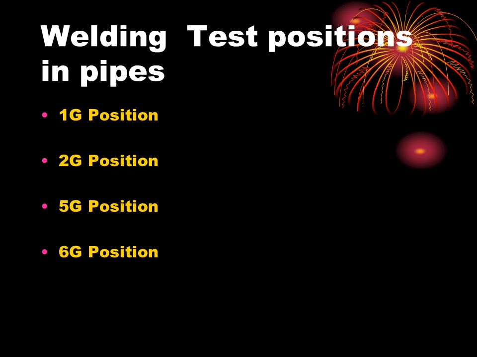 Welding Test positions in pipes 1G Position 2G Position 5G Position 6G Position