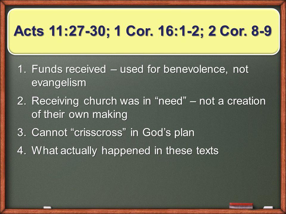Acts 11:27-30; 1 Cor. 16:1-2; 2 Cor.