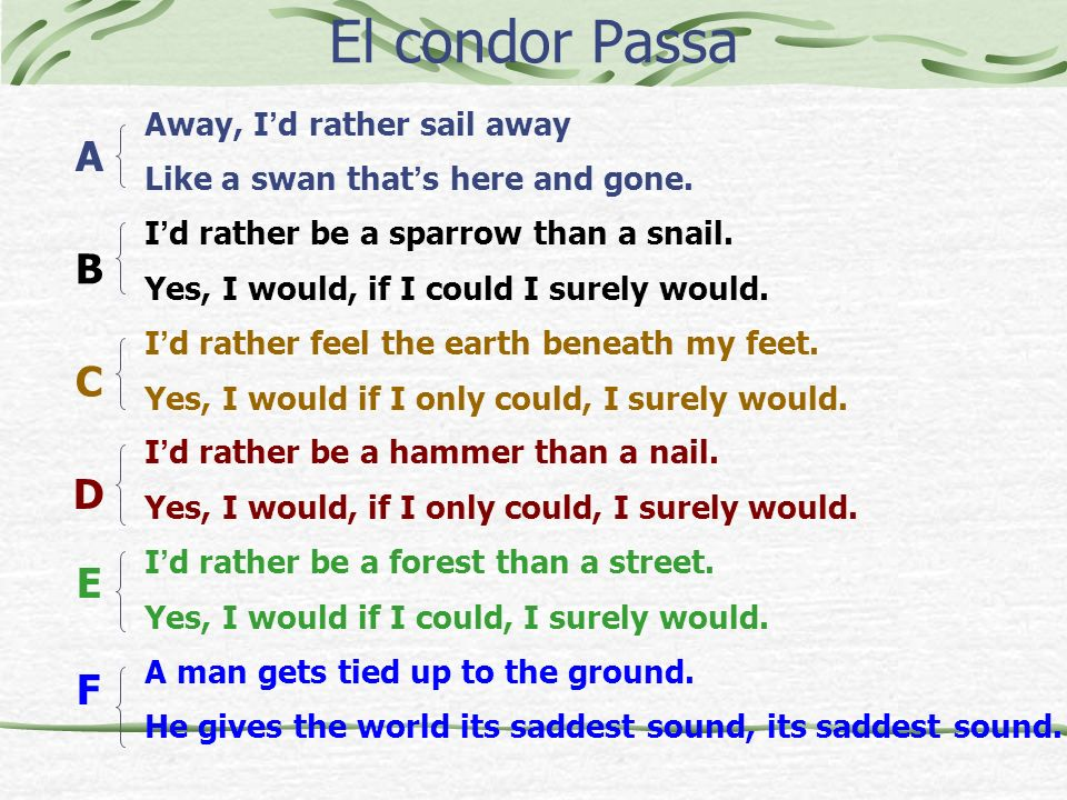 El condor Passa Away, I d rather sail away Like a swan that s here and gone. I d rather be a sparrow than a snail. Yes, I would, if I could I surely w