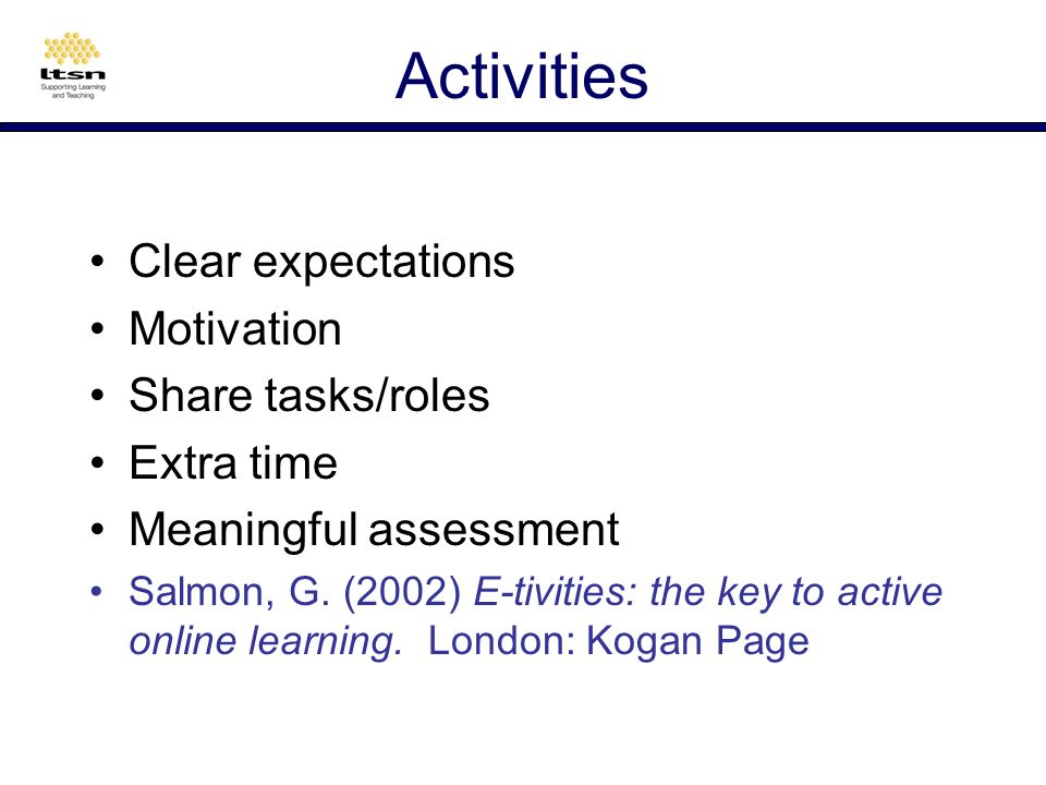 Group size No right size Match size to function Allocate tasks/roles to learners