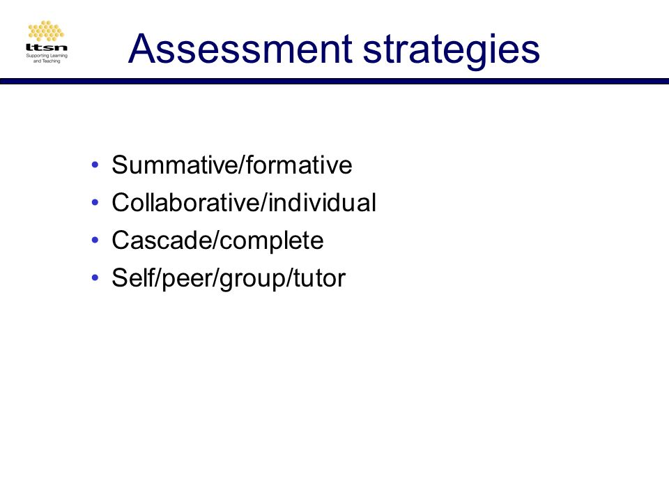 Assessment Its expected To enable student progression To facilitate students choice of options To diagnose learner problems To diagnose teacher problems To motivate students To provide course statistics To enable grading and degree classification To add variety to the student learning experience