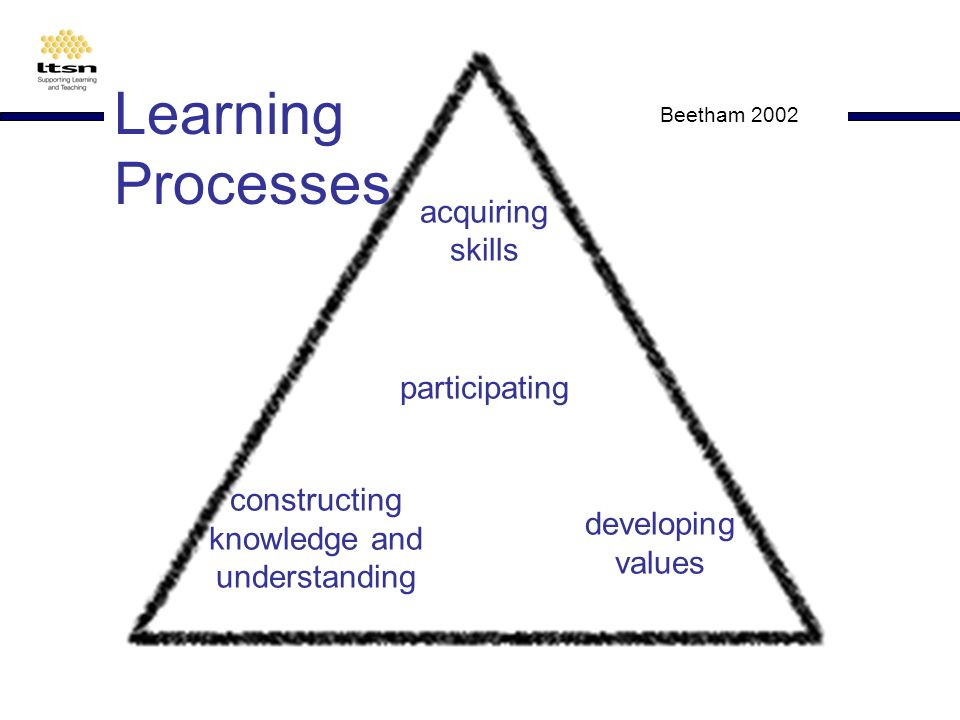 acquiring skills constructing knowledge and understanding developing values participating Beetham 2002 Learning Processes