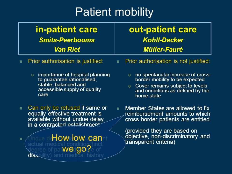 Patient mobility Prior authorisation is justified: importance of hospital planning to guarantee rationalised, stable, balanced and accessible supply o