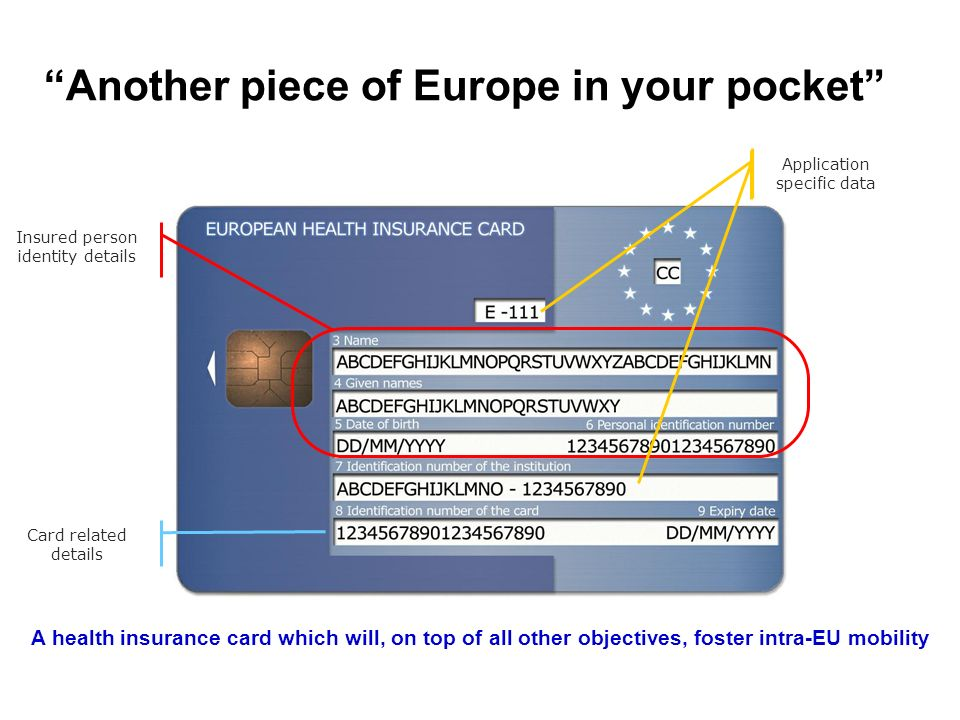 Insured person identity details Application specific data Card related details Another piece of Europe in your pocket A health insurance card which wi