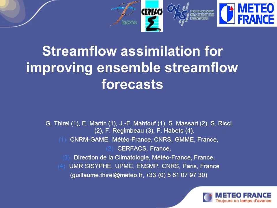 Streamflow assimilation for improving ensemble streamflow forecasts G.
