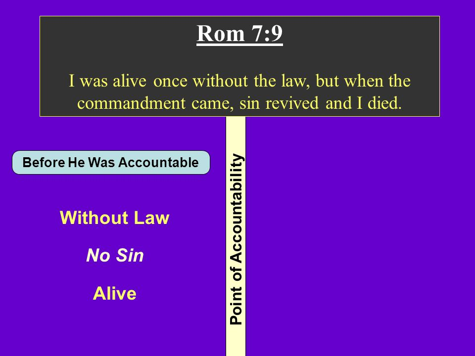 Point of Accountability Rom 7:9 I was alive once without the law, but when the commandment came, sin revived and I died. Before He Was Accountable Wit