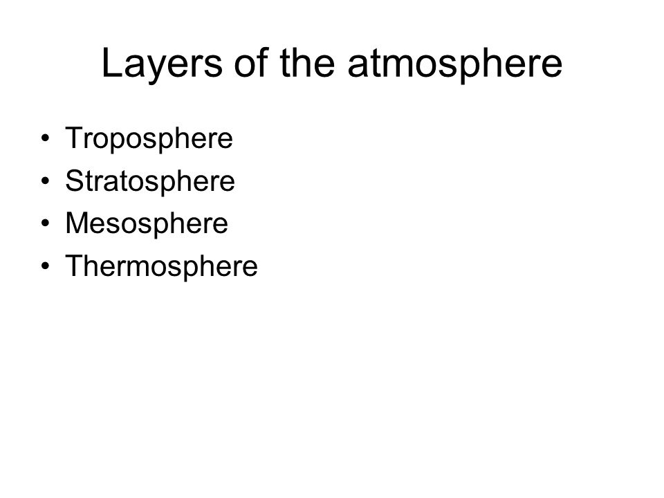 Layers of the atmosphere Troposphere Stratosphere Mesosphere Thermosphere