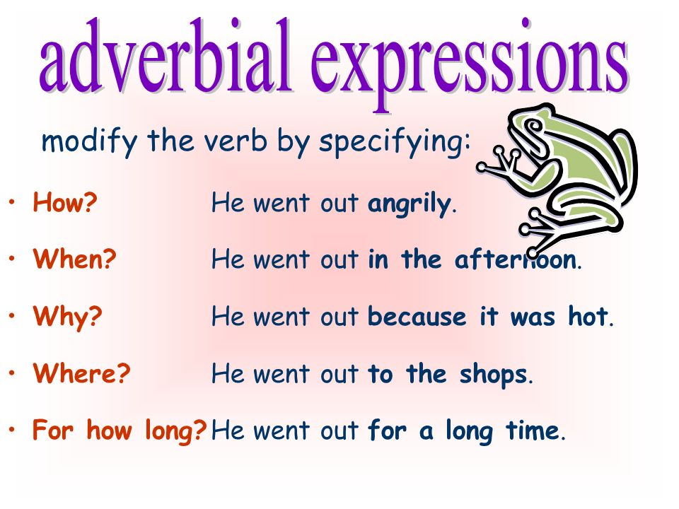 may be: words (adverbs), e.g. angrily clauses, e.g.